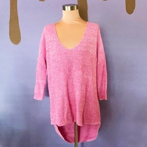 Express Pink Oversized Knit Pullover Sweater